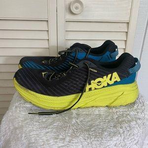 HOKA black yellow running shoes
